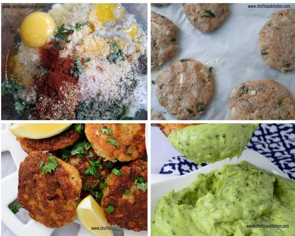 Step by step image directions on how to make shrimp cakes.