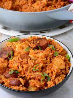 Jambalaya served in a bowl