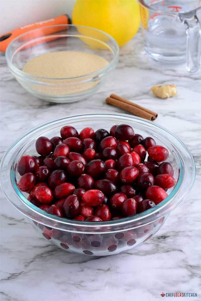 Ingredients for making cranberry sauce