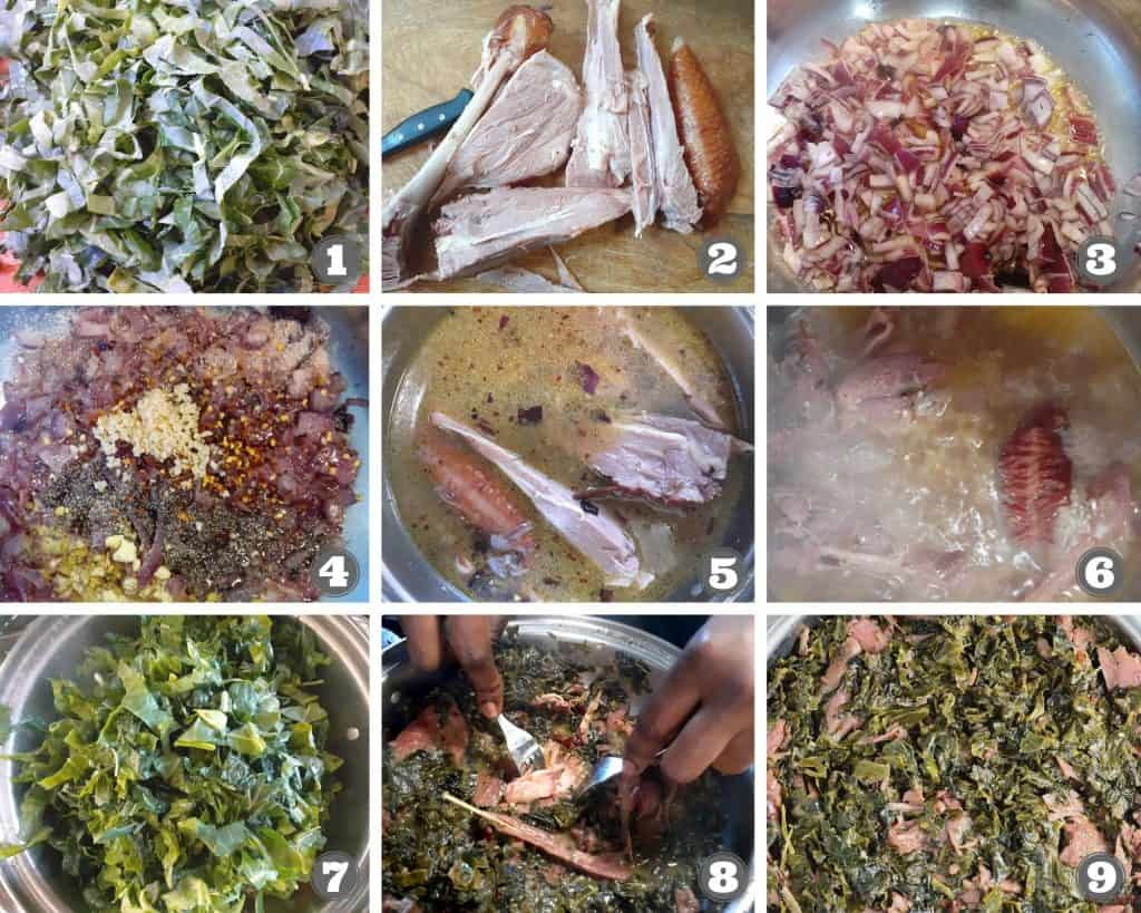 Step by step procedure on how to make collard greens
