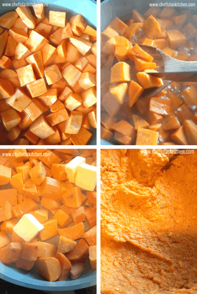 Step by step directions on how to make mashed sweet potatoes