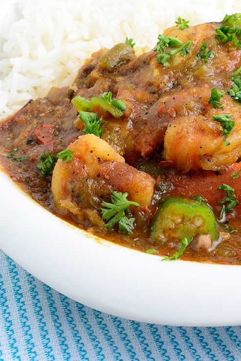 Gumbo served over white rice