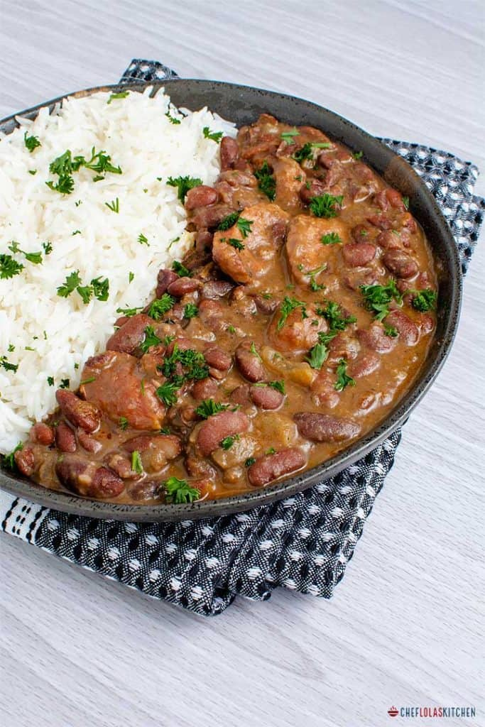 Red beans and Rice served in a plate