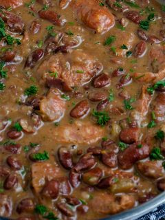 Cooked Red Beans in a pan