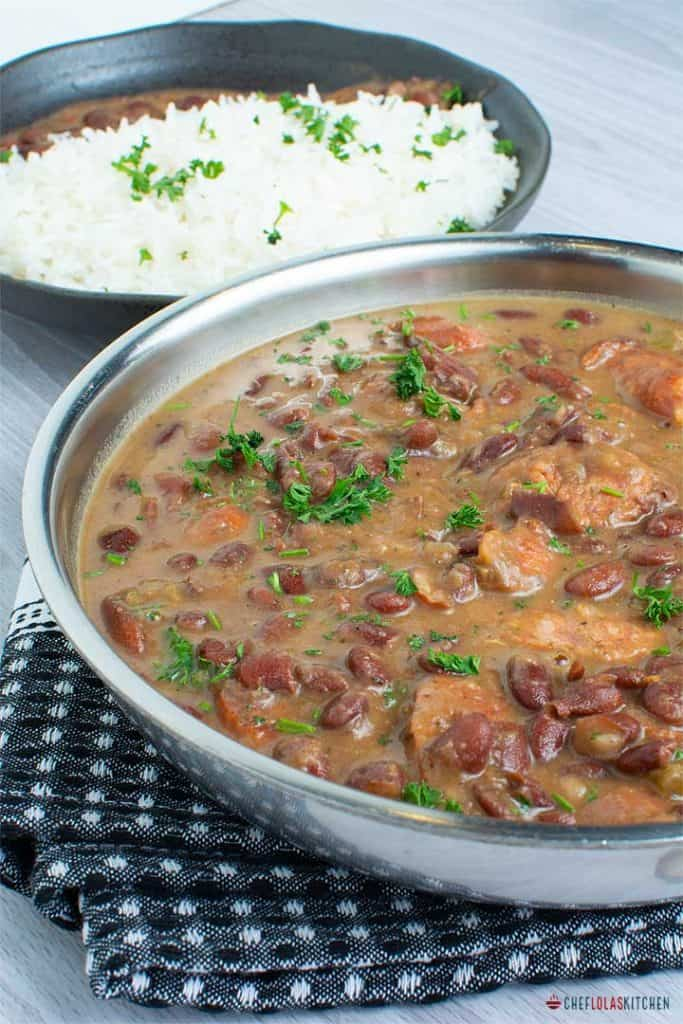 Red beans and rice in a pan. Garnished with parsley