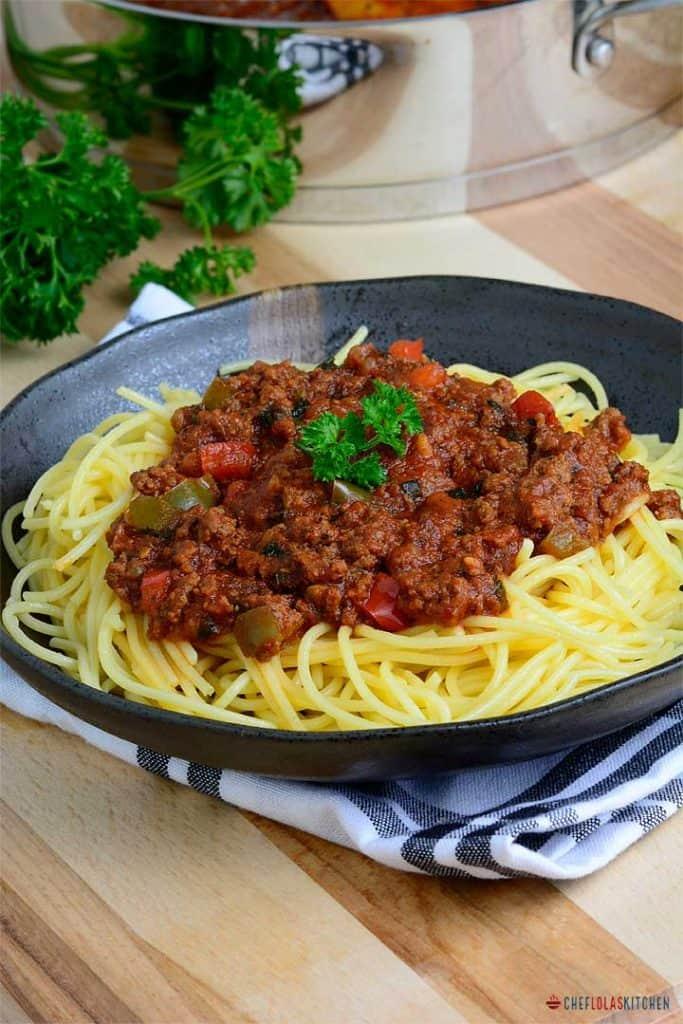 Spaghetti sauce served over pasta