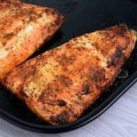 Air Fryer Salmon in a black tray