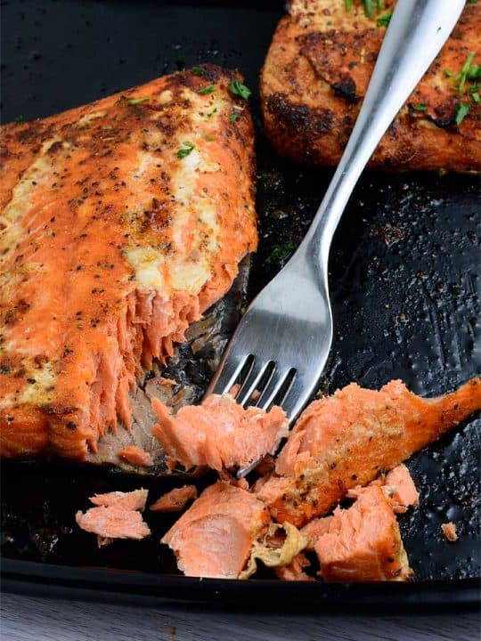 Air fryer salmon showing the meat