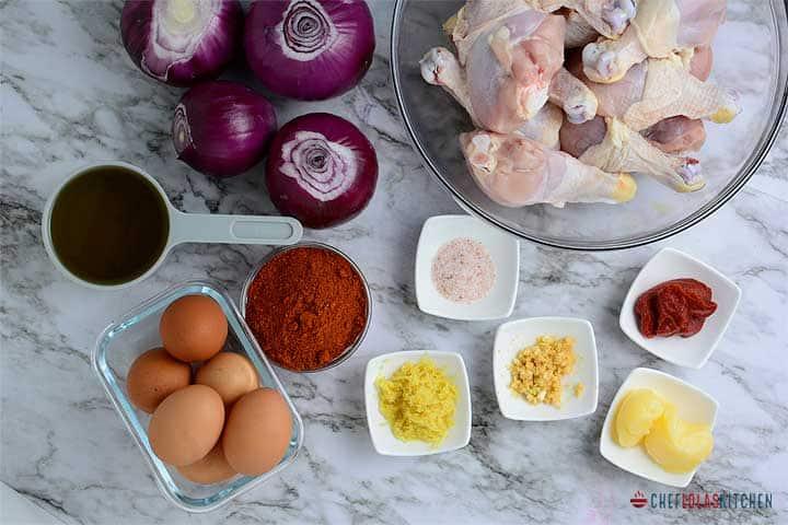 Ingredients for making Doro wat