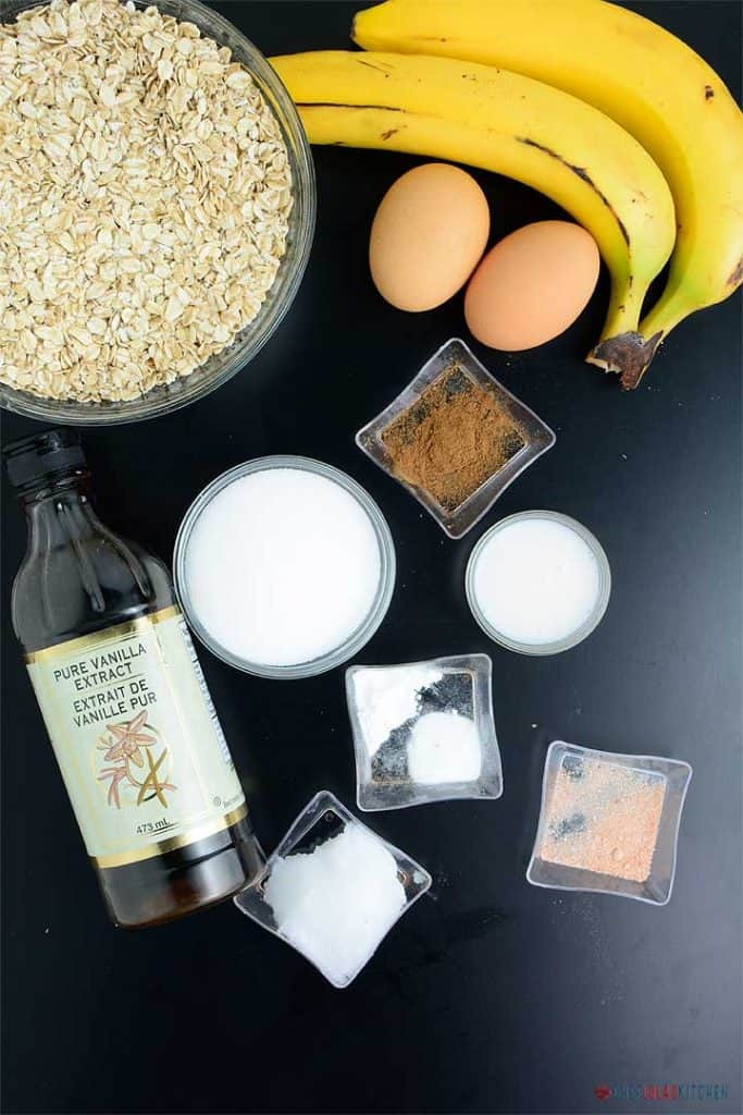 Ingredients for making oatmeal banana bread