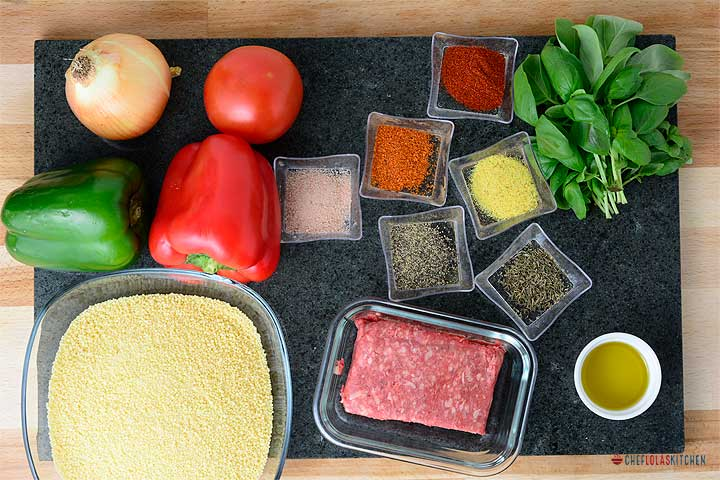 Ingredients for making beef couscous