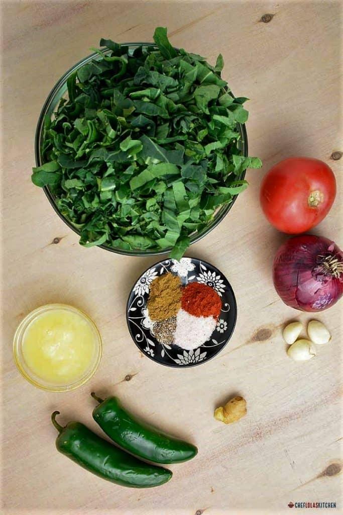 Ingredients for making gomen wat