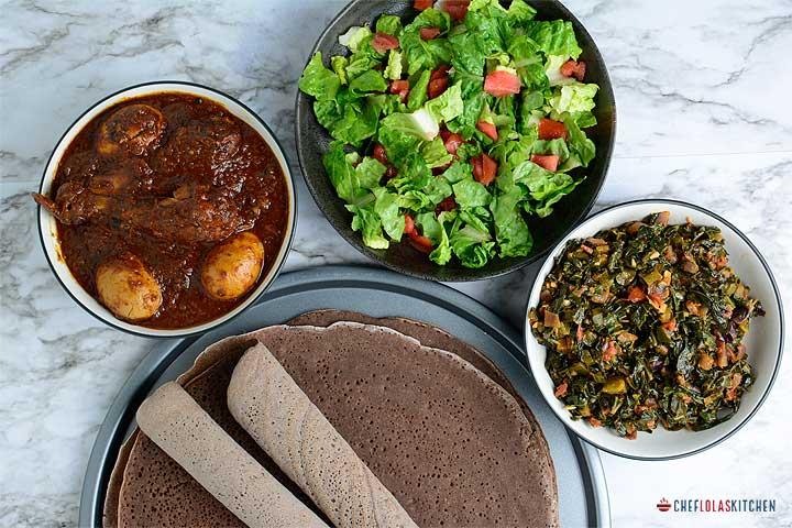 Gomen wat, Injera, doro wat, and salata