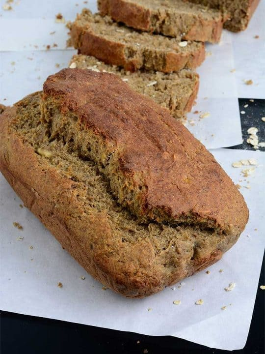 Freshly baked oatmeal banana bread