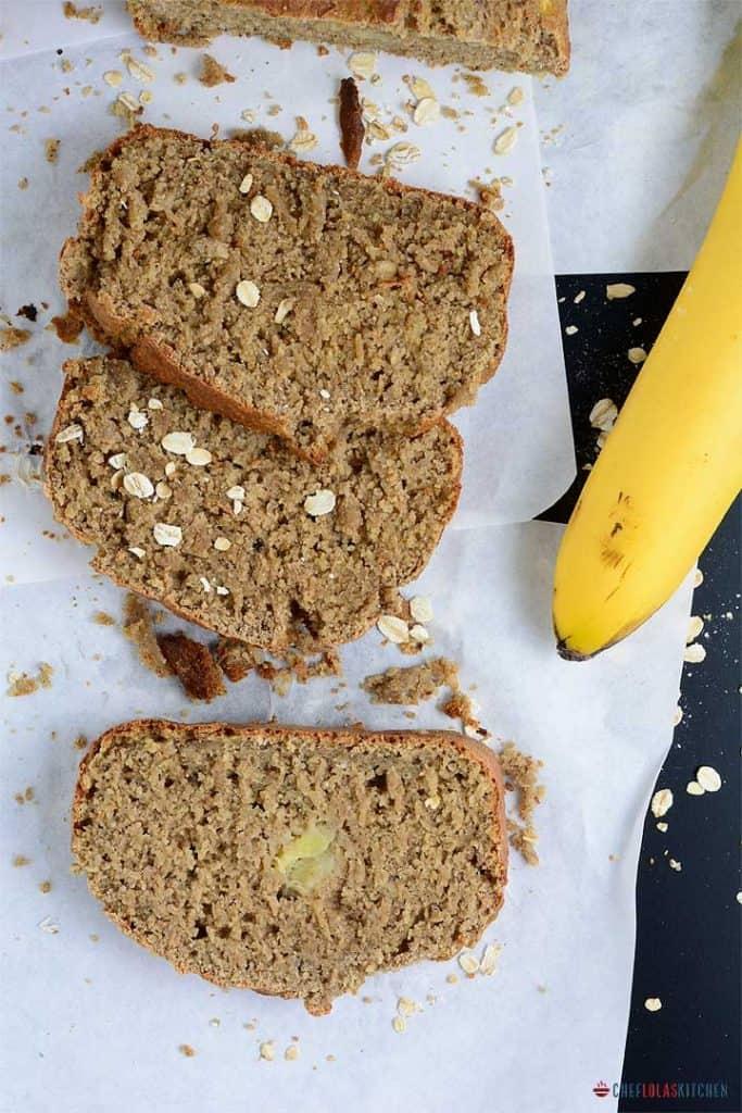 Freshly baked oat flour banana bread slices