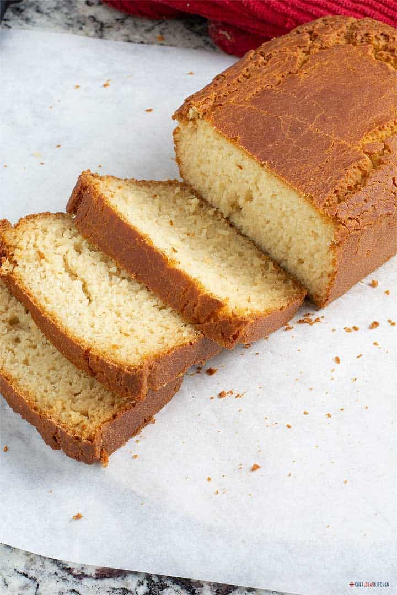 Freshly baked and sliced Rice flour bread