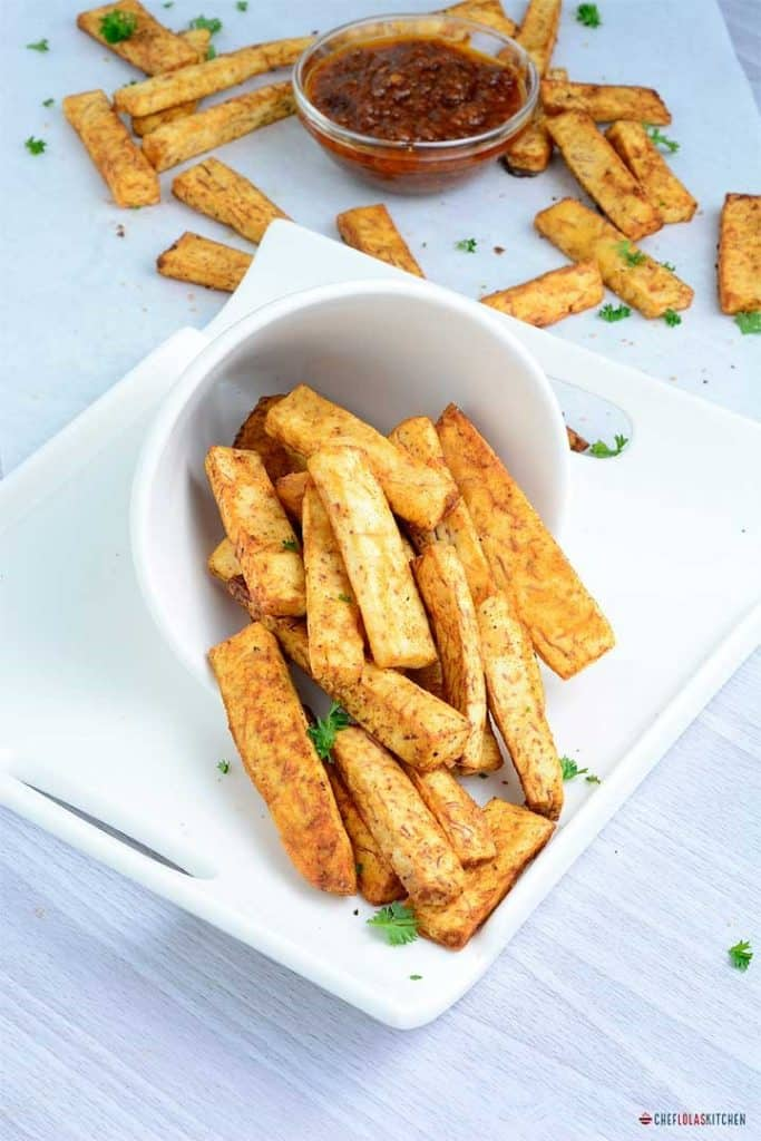 Taro root fries served on a plate