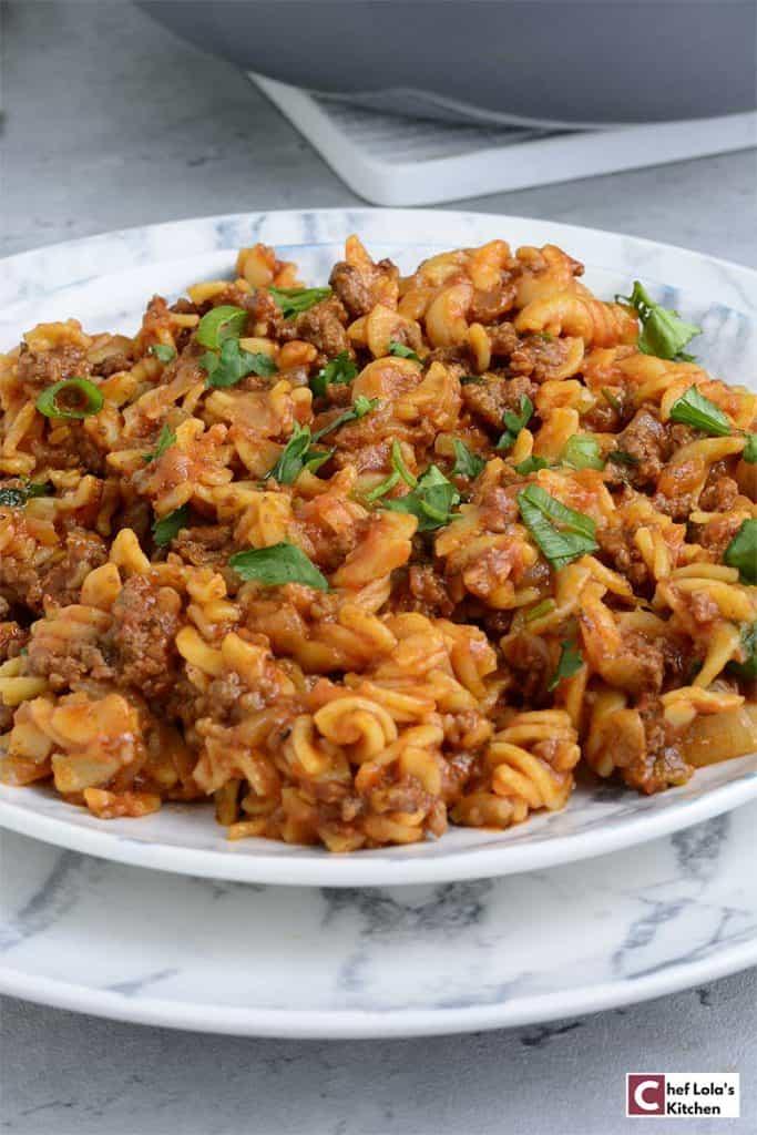 Pasta in ground beef sauce