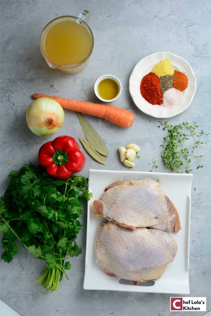 Ingredients for making oven roasted turkey thighs